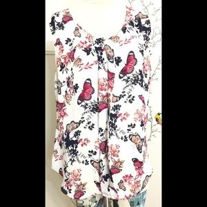 Laundry by Shelli Segal Floral Butterfly Blouse L